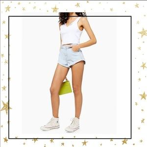 Topshop Roll hem Kiri Denim high waist Shorts (A5)